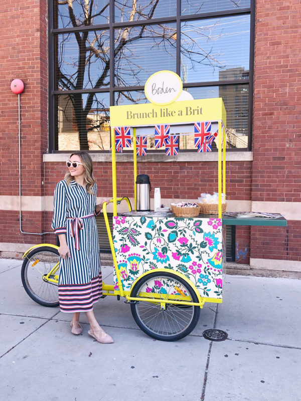 Chicago blogger Jessica Sturdy wearing a striped shirt dress by Boden with nude strappy flats.