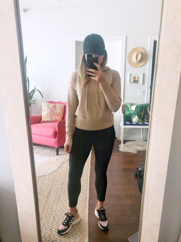Vineyard Vines Cashmere Hoodie, Black Leggings, Tretorn Dad Sneakers