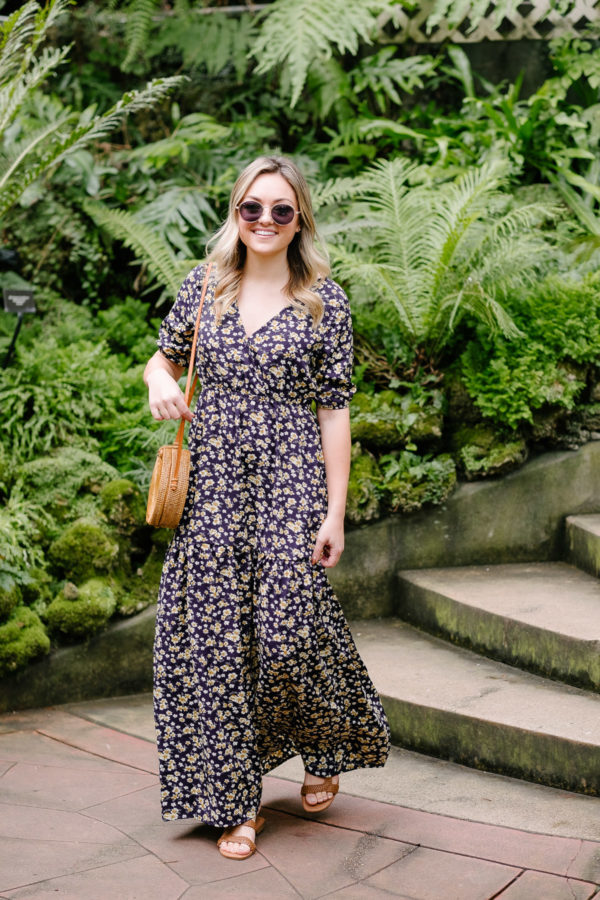 Fashion blogger Bows & Sequins wearing a cute summer outfit with a maxi dress and sandals.