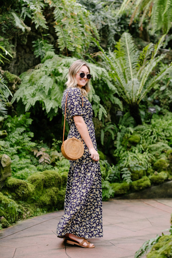 Chicago fashion blogger Bows & Sequins wearing a round rattan Bali bag.