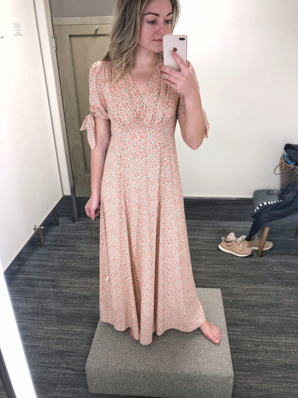 Fashion blogger wearing a Gal Meets Glam Maxi dress at Nordstrom