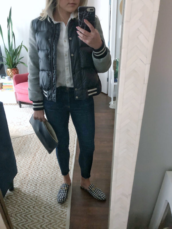 Chicago blogger Bows & Sequins styling a Veronica Beard bomber jacket, white button up shirt, Rag & Bone raw hem skinny jeans, and gingham Gucci loafers.