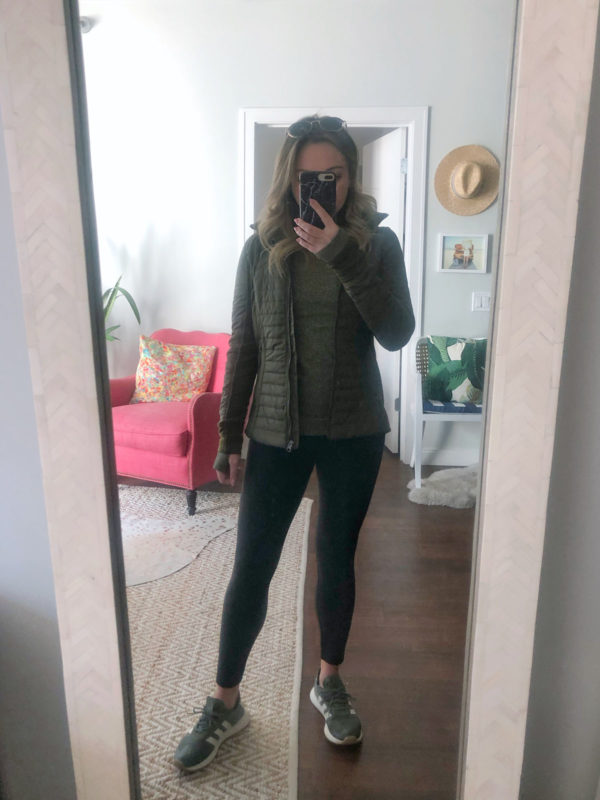 Chicago fitness blogger Jessica Sturdy of Bows & Sequins wearing a Lululemon jacket and Adidas Flashback sneakers.