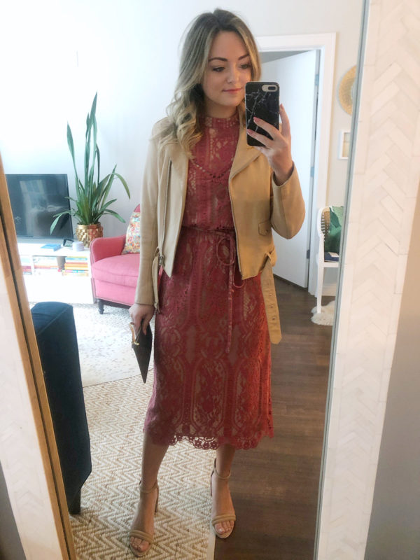 Beauty blogger Bows & Sequins wearing a pink lace midi dress with a Sandro nude leather jacket for a bridal shower in Chicago.