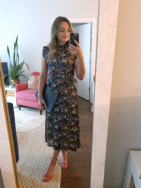Fashion and beauty blogger Jessica Sturdy of Bows & Sequins styling a silk floral midi dress for a spring wedding in Chicago.