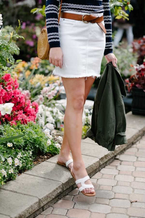 Fashion blogger Bows & Sequins wearing Sam Edelman white braided sandals.
