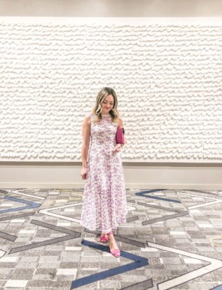 Lifestyle blogger Jessica Sturdy of Bows & Sequins styling a Monique Lhuillier white and lavender sheer floral midi dress to the Ravinia Associates Board's annual Music Matters gala in Chicago.