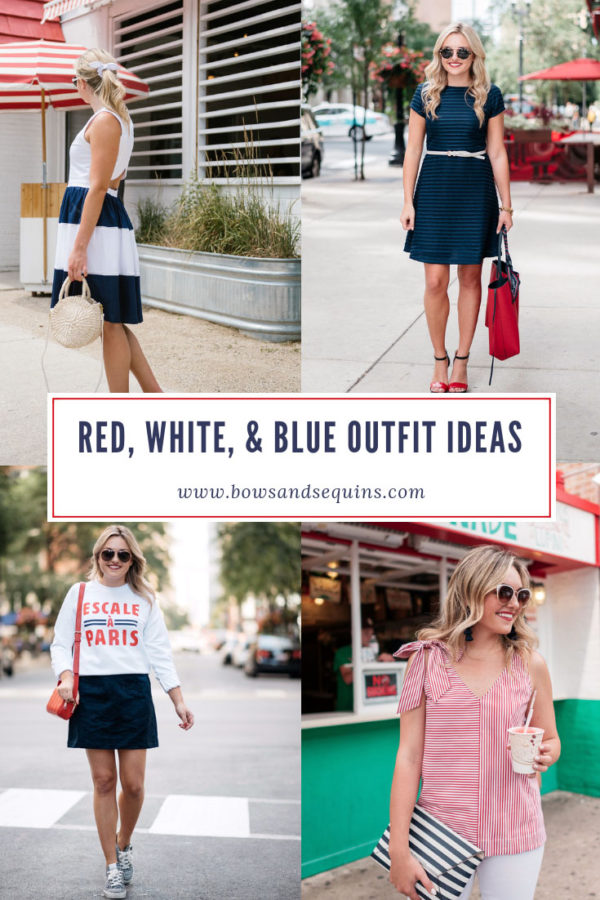 Preppy Style Blogger Bows & Sequins shares twelve summer outfit ideas featuring red, white, and blue pieces for Memorial Day and Fourth of July Outfits.