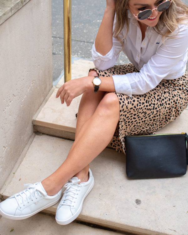 Fashion and lifestyle influencer Bows & Sequins styling Keds sneakers.