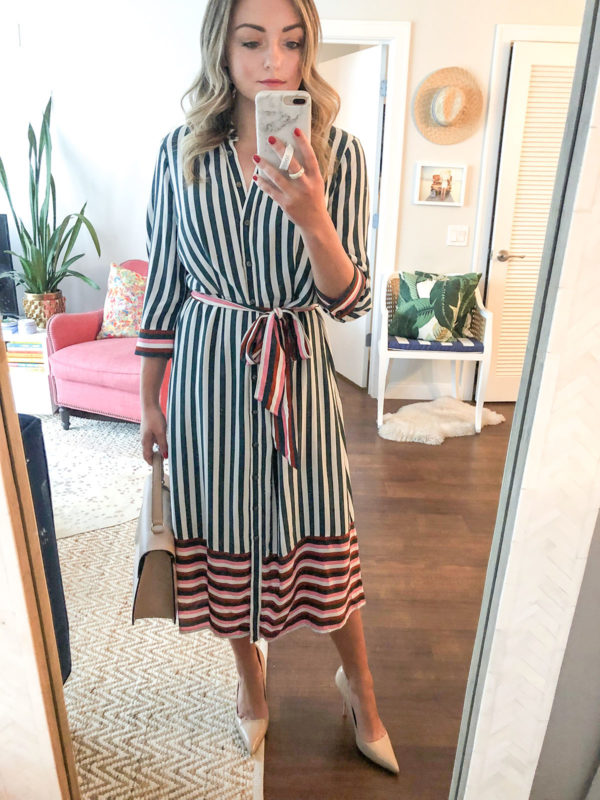 Chicago-based personal wardrobe stylist Jessica Sturdy of Bows & Sequins styles a silky striped midi shirtdress for a day at the office.