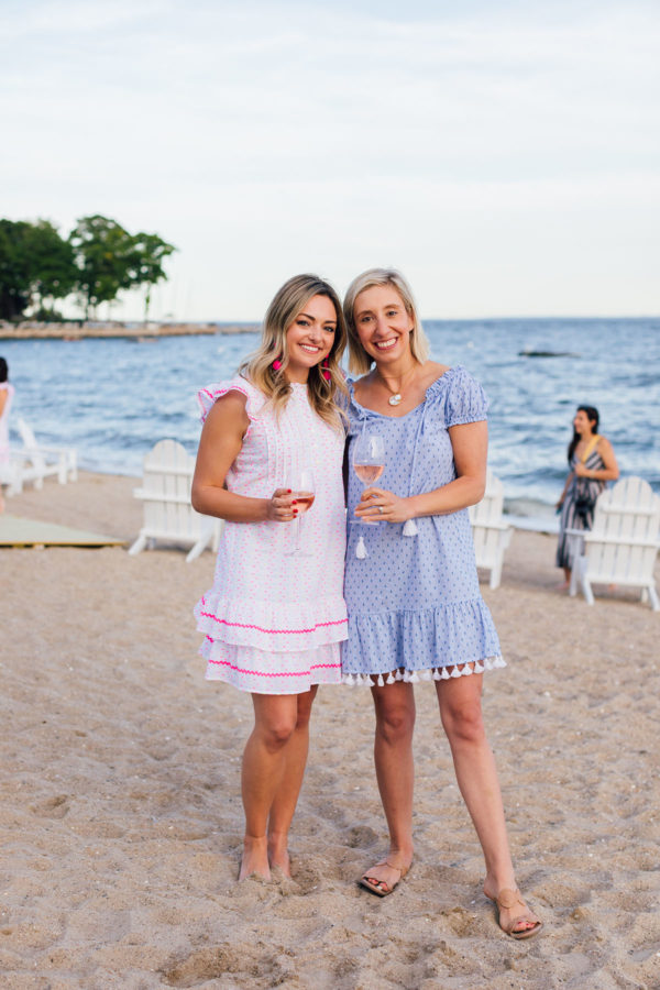 Preppy bloggers Jessica Sturdy and Julia Dzafic at Wee Burn Beach Club in Connecticut.