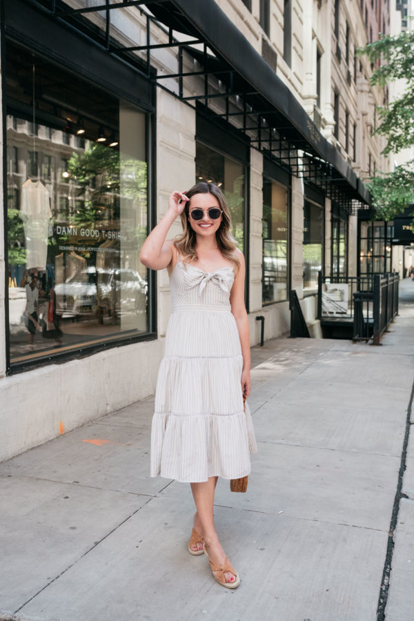 Fashion and beauty blogger Bows & Sequins wearing an Eliza J tie-front Eliza J sundress.
