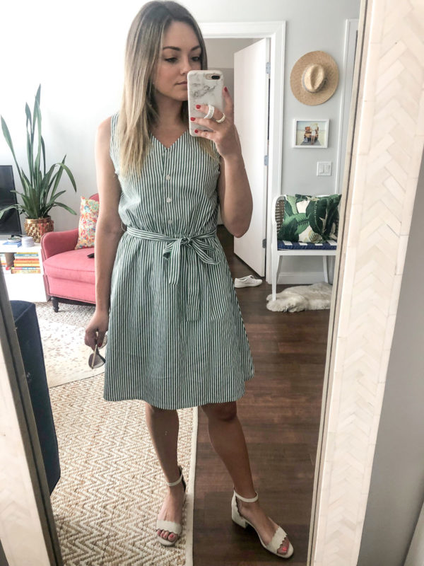 Chicago fashion blogger Jessica Sturdy of Bows & Sequins styling a green and white striped dress.