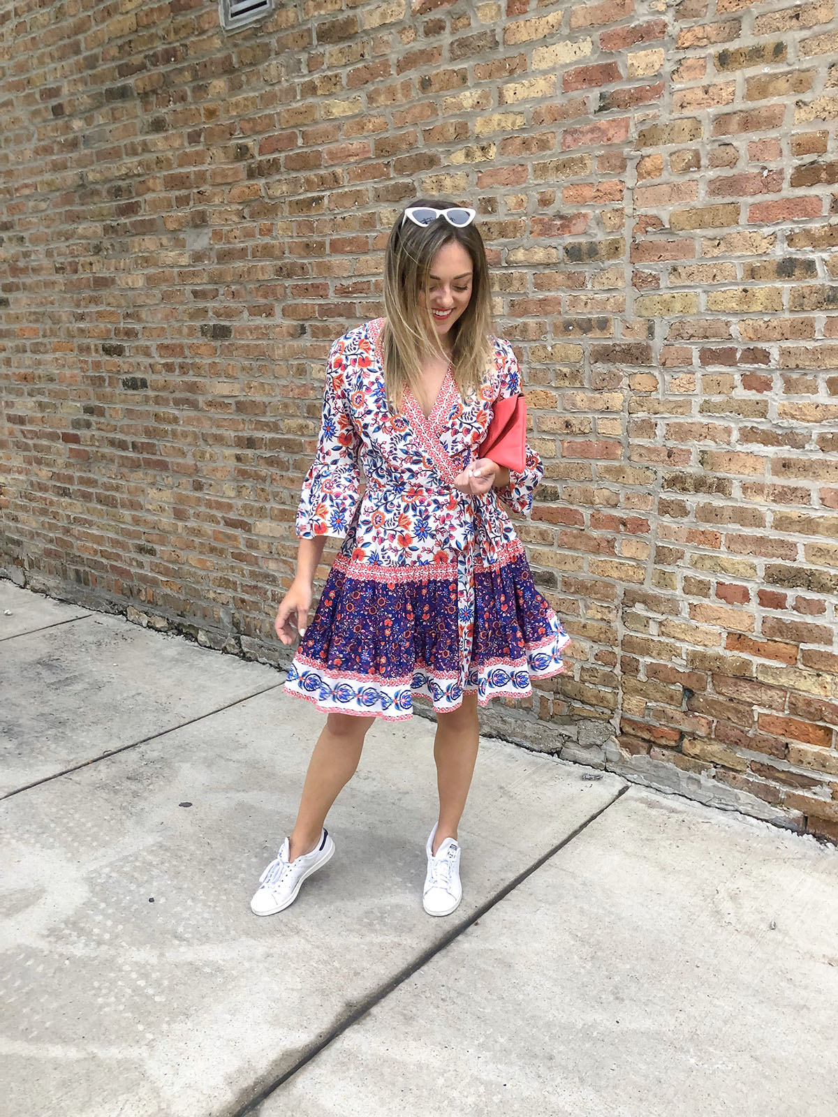 Chicago blogger wearing a printed Eliza J wrap dress