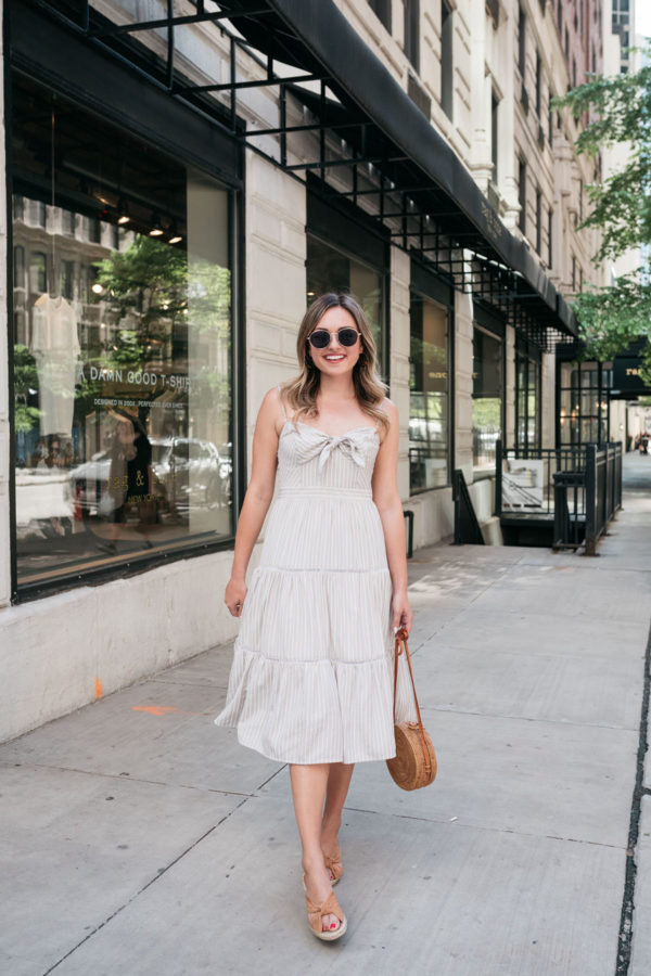 Chicago style blogger Jessica Sturdy of Bows & Sequins styling a khaki tie-front sundress.