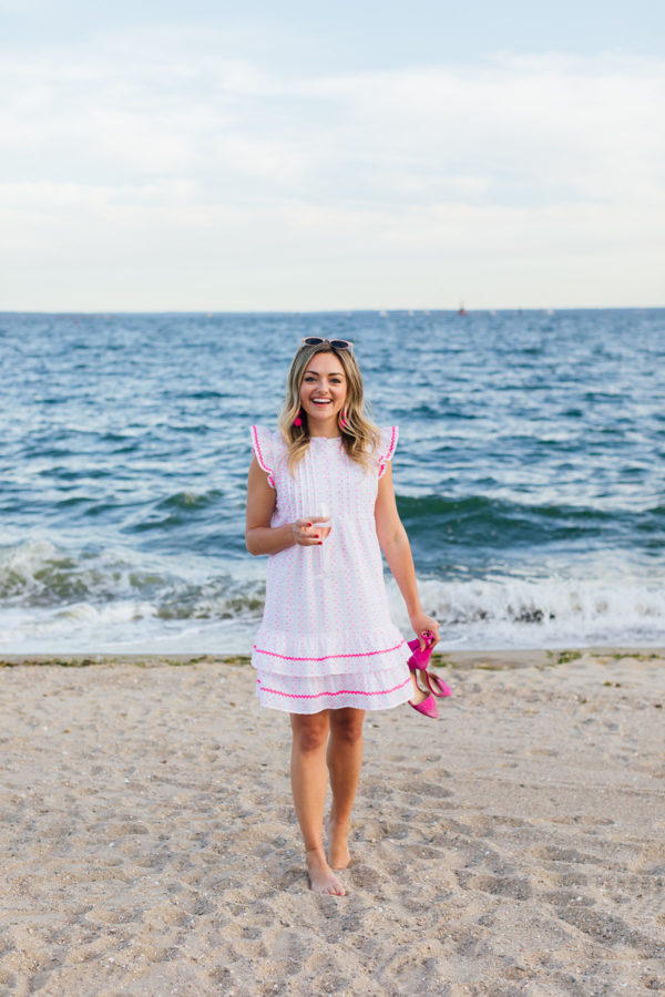 Fashion blogger Jessica Sturdy wearing a Sail to Sable Dress at Wee Burn Beach Club in Connecticut