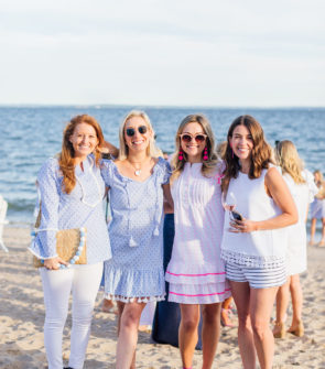 Mackenzie Horan of Design Darling, Julia Dzafic of Lemon Stripes, Jessica Sturdy of Bows & Sequins, and Liz Adams of Hello Adams Family at Sail to Sable's Summer Party at Wee Burn Beach Club in Connecticut