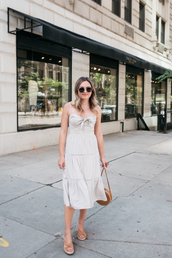 Chicago fashion blogger Jessica Sturdy of Bows & Sequins wearing a khaki sundress with tan wedges.