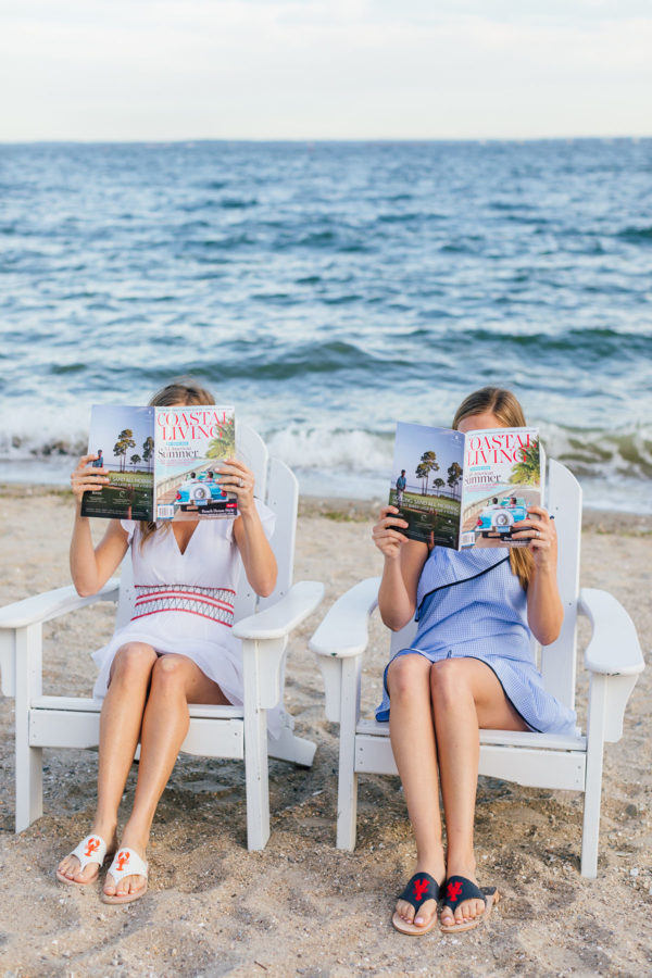Palm Beach Lately girls reading Coastal Living wearing Sail to Sable and Jack Rogers at Wee Burn Beach Club