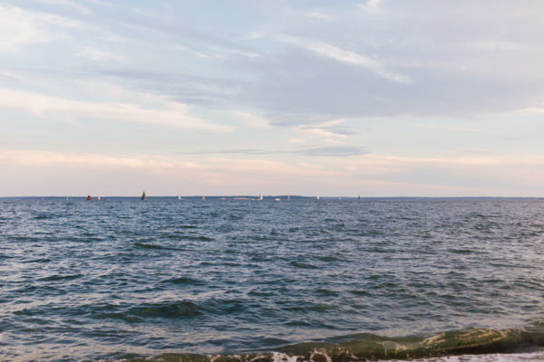 Sailboats at Sunset at Wee Burn Beach Club in Connecticut