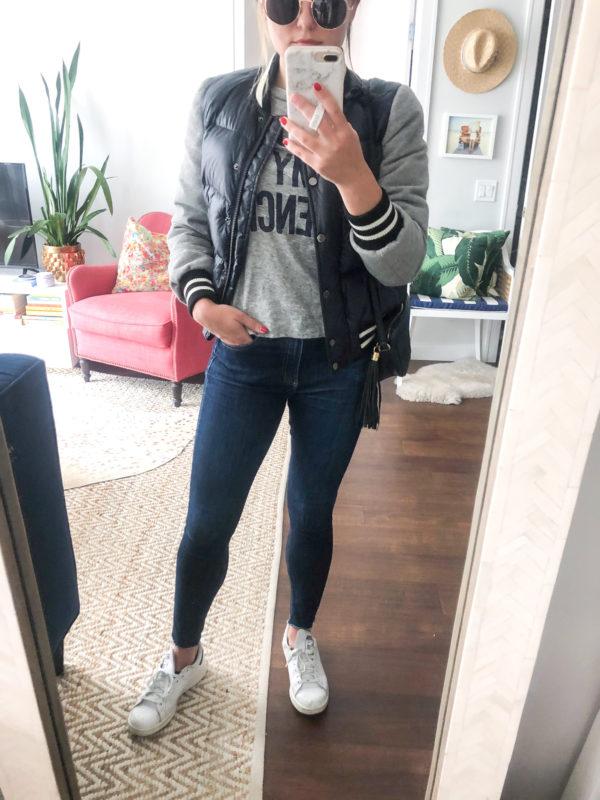 Blogger wearing Veronica Beard puffer jacket, rag & bone skinny jeans, and Stan Smith sneakers.