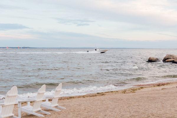 White Adirondack Chairs at Wee Burn Beach Club in Connecticut