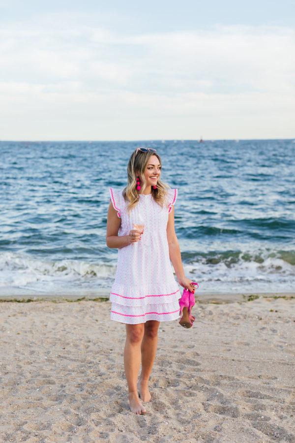 Jessica Sturdy wearing a Sail to Sable Funfetti Ruffled Dress at Wee Burn Beach Club in Connecticut.