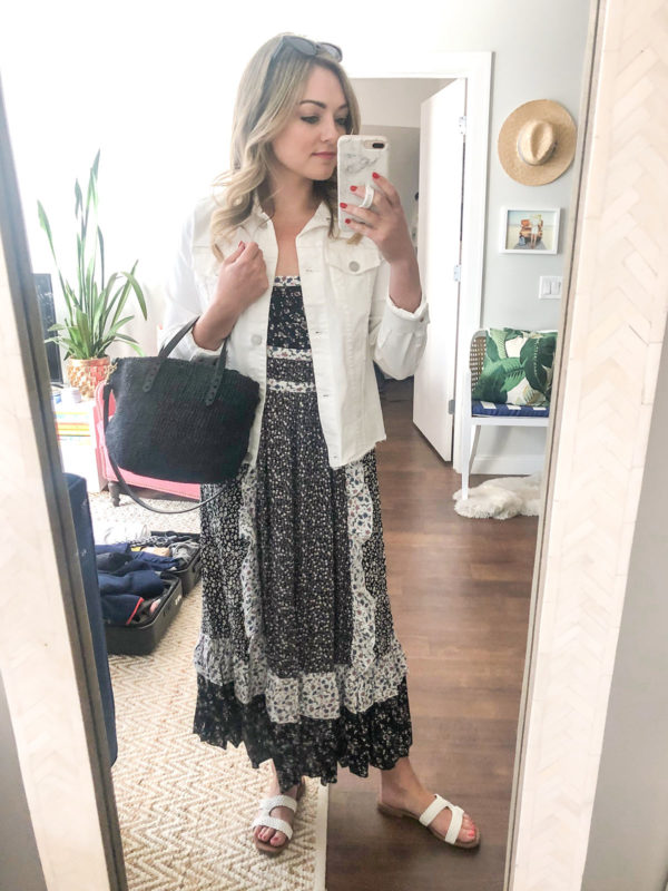 Chicago fashion blogger Bows & Sequins wearing a white denim jacket with a floral Free People maxi dress.