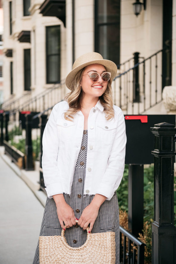 Chicago blogger styling a white denim jacket.