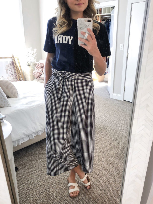 Cynthia Rowley Cali York Tee, Zara Wide Leg Gingham Pants