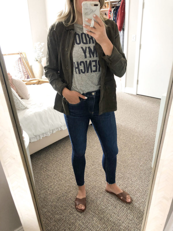 Sanctuary Olive Jacket, J.Crew Pardon My French Tee, Rag & Bone Skinny Jeans, Hermes Dupe Sandals