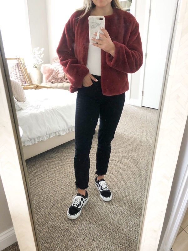 Red Faux Fur Bomber Jacket with white bodysuit, Paige black skinny jeans, and Vans sneakers