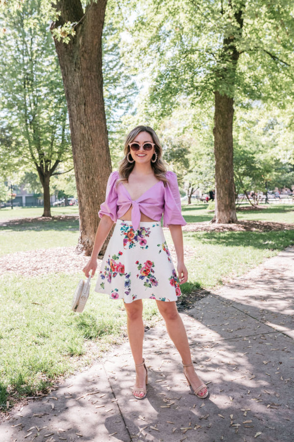 Bows & Sequins Clothing Line Floral Skirt