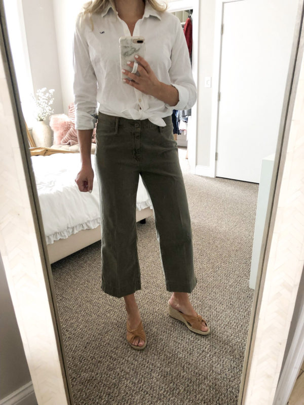 Casual Work Outfit: Button-Front White Collard Shirt with Green Chino Pants