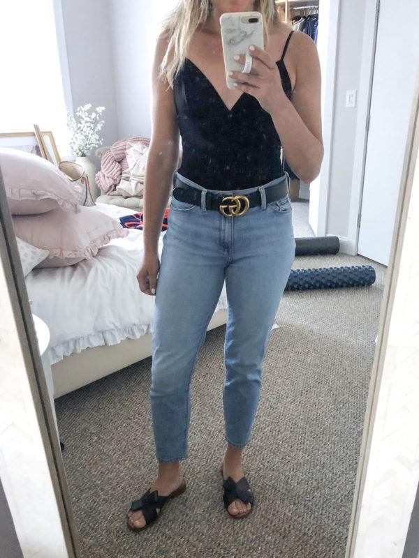 Black Bodysuit, Gucci Belt, Mom Jeans Outfit