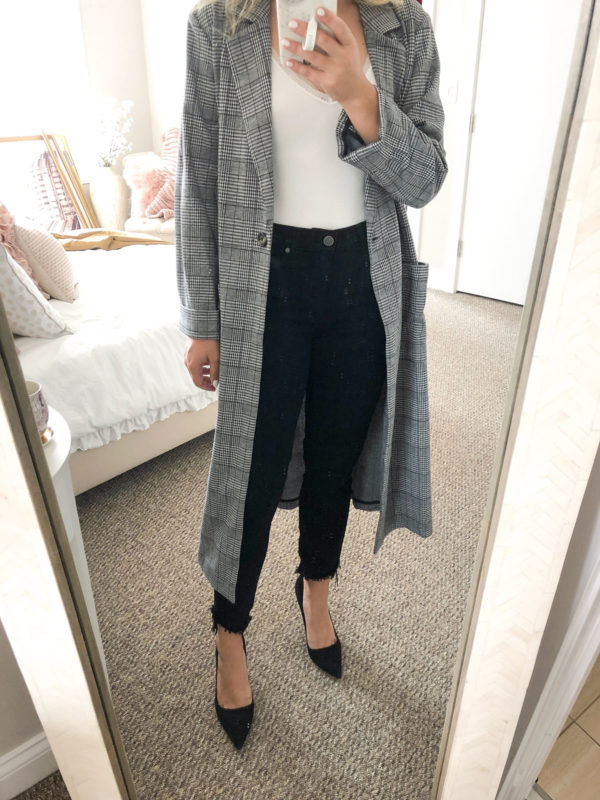 Long Plaid Duster Coat Outfit