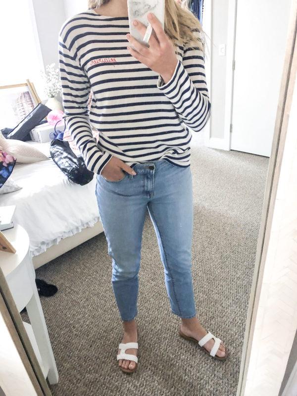 Maison LaBiche Striped Shirt, Mott & Bow Mom Jeans