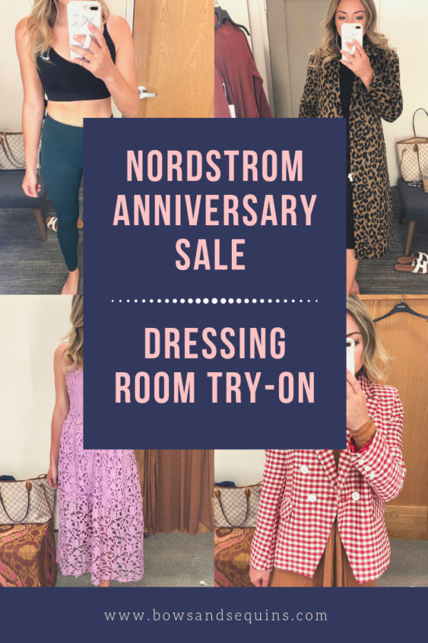 Fashion blogger Bows & Sequins does a dressing room try on at the Nordstrom Anniversary Sale