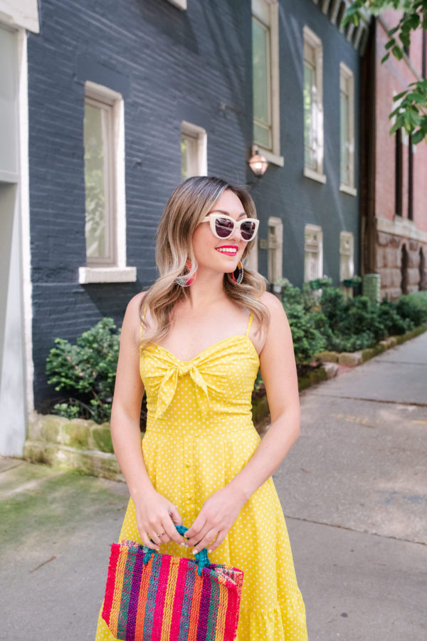 Chicago blogger Jessica Rose Sturdy styling a polka dot tie front dress with Boden sunglasses.