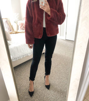 Red Faux Fur Jacket with Black Jeans and Pumps for a Girls Night Out or Date Night