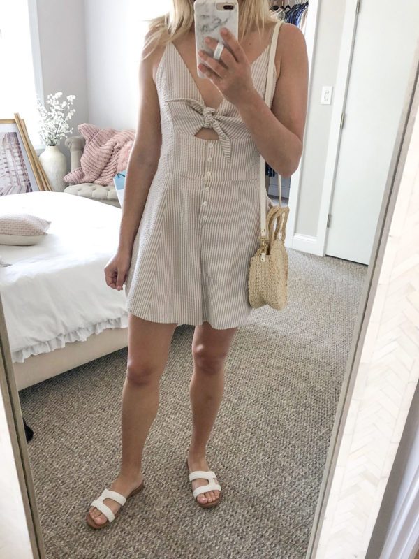 Fashion blogger wearing a Shona Joy seersucker romper with a Clare V Petite Alice tote and Sam Edelman sandals to West Fest street festival in Chicago.