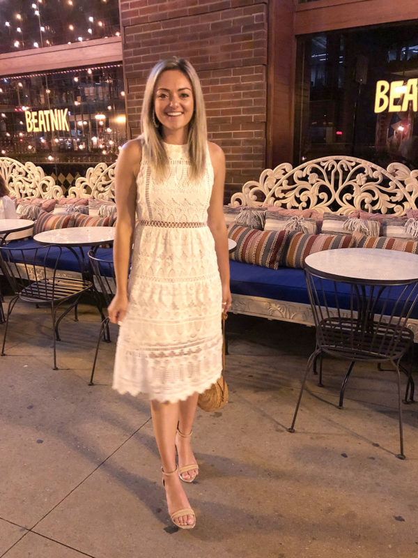 White lace midi dress with Kenneth Cole Lex Block Heels and a Round Rattan Bag