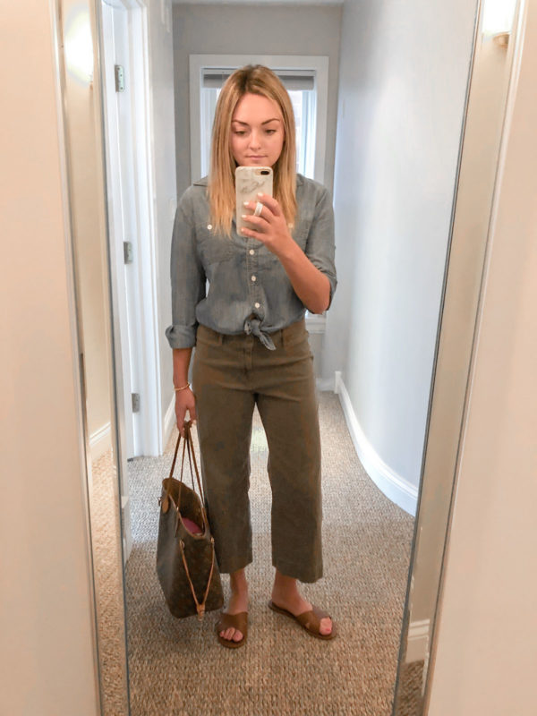 J.Crew Chambray Shirt, Olive Green Chinos, LV Neverfull Outfit