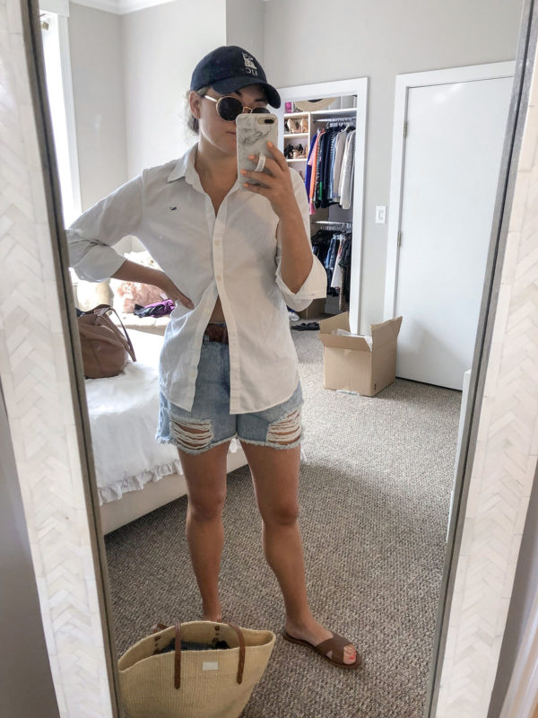 White Button Front Shirt, Cotton On High Rise Shorts, Pool Day Outfit