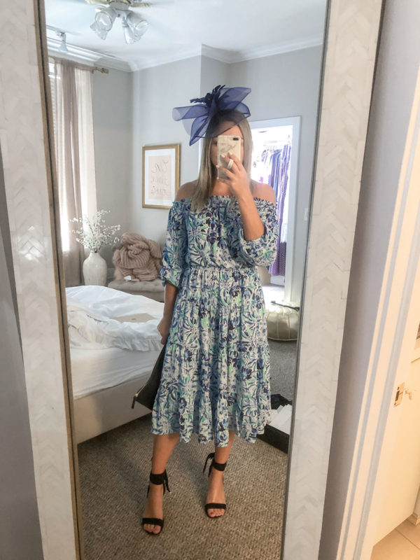 Lilly Pulitzer Off the Shoulder Dress with a Vineyard Vines fascinator for a horse race.