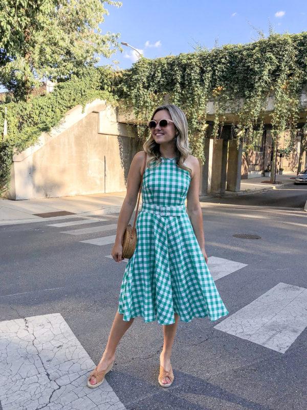 Eliza J Green Gingham Fit & Flare Dress