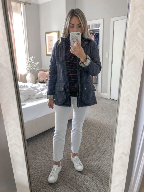 Barbour Quilted Jacket, Vineyard Vines Cropped White Jeans, Keds Ace Sneakers