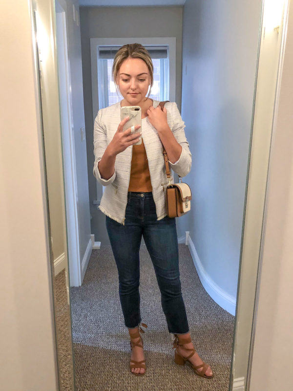 Tweed Jacket and Cropped Jeans for Work