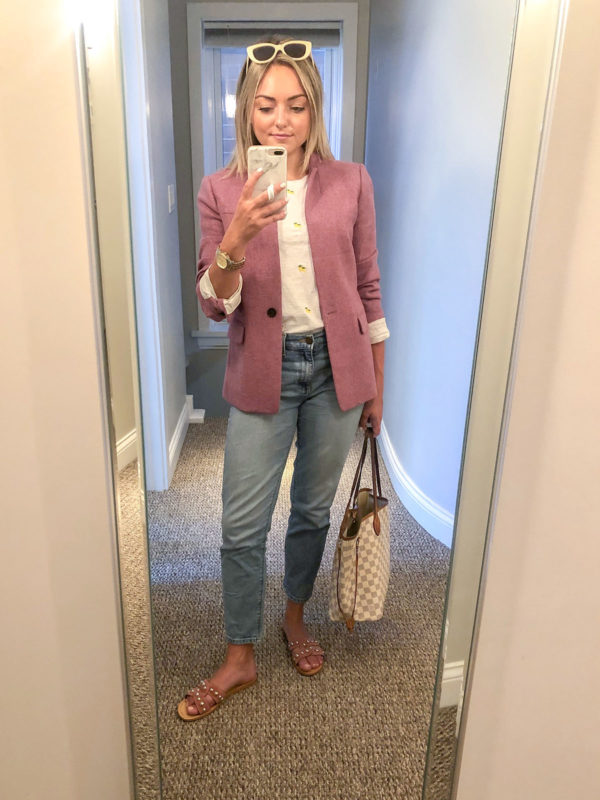 J.Crew Pink Blazer with Lemon-Print Tee, Mom Jeans, Pink Slides, and a LV Neverfull