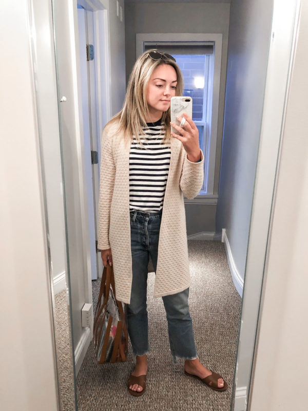 Style blogger Bows & Sequins wearing a Sail to Sable Cashmere Cardigan, Mott & Bow Striped Tee, Citizens Charlotte jeans, and Loeffler Randall Cognac/Clear Marlena Tote Bag.